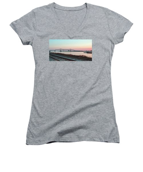 Women's V-Neck T-Shirt (Junior Cut) featuring the photograph Rail Along Mississippi River by Charlotte Schafer