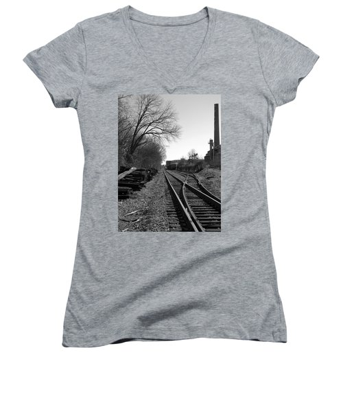 Railroad Siding Women's V-Neck T-Shirt (Junior Cut) by Greg Simmons