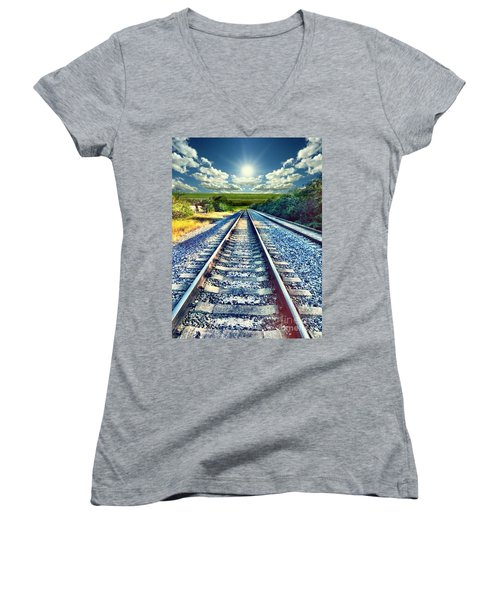 Railroad To Heaven Women's V-Neck (Athletic Fit)