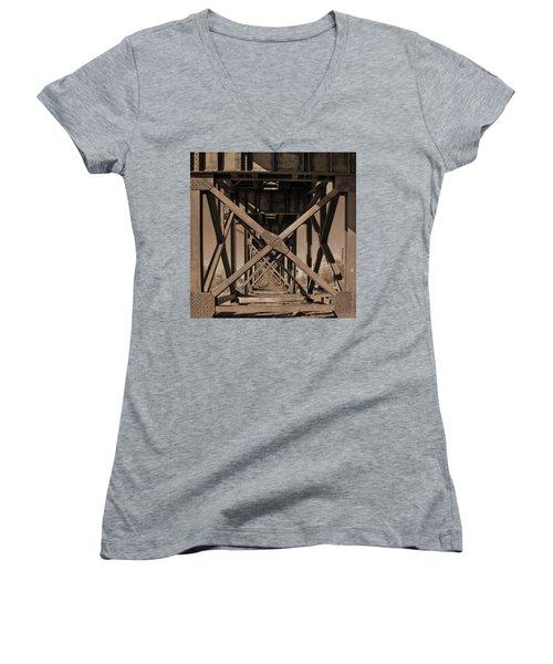 Railroad Trestle Sepia Women's V-Neck (Athletic Fit)