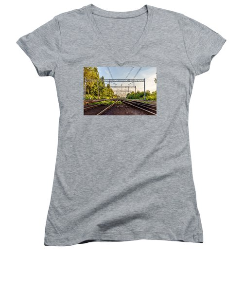 Railway To Nowhere Women's V-Neck (Athletic Fit)