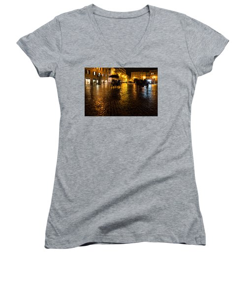 Rain Chased The Tourists Away... Women's V-Neck