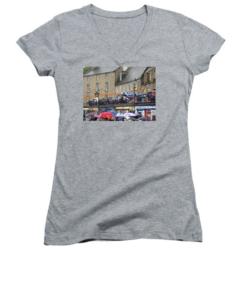 Women's V-Neck T-Shirt (Junior Cut) featuring the photograph Rain On The Parade by Suzanne Oesterling
