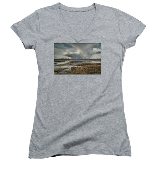 Rain Storm Women's V-Neck T-Shirt (Junior Cut)