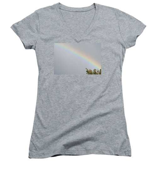 Rainbow After The Rain Women's V-Neck T-Shirt (Junior Cut) by Barbara Griffin