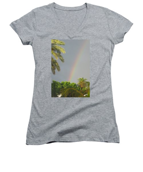 Women's V-Neck T-Shirt (Junior Cut) featuring the photograph Rainbow Bermuda by Photographic Arts And Design Studio