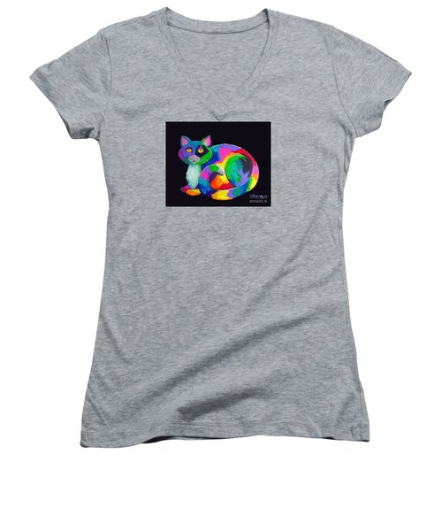 Rainbow Calico Women's V-Neck T-Shirt (Junior Cut) by Nick Gustafson