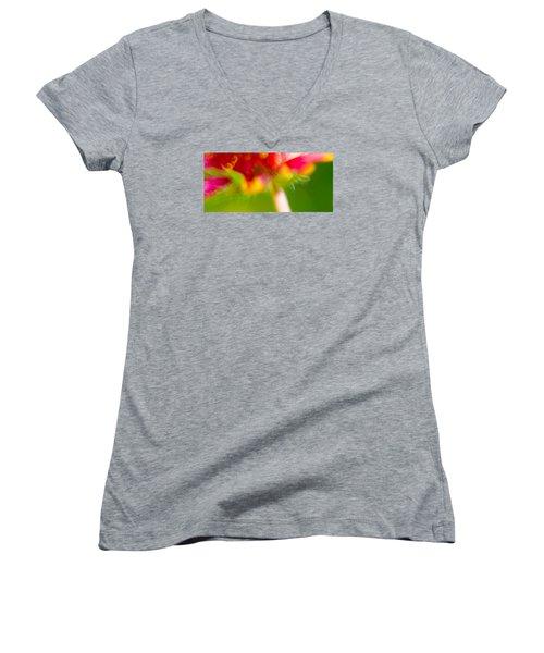 Rainbow Flower Women's V-Neck T-Shirt (Junior Cut) by Darryl Dalton