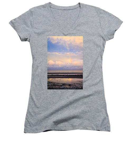 Women's V-Neck T-Shirt (Junior Cut) featuring the photograph Rainbow Over Bramble Bay by Peta Thames