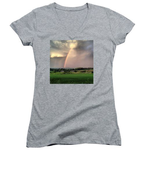 Rainbow Poured Down Women's V-Neck