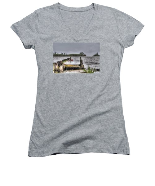 Women's V-Neck T-Shirt (Junior Cut) featuring the photograph Rained Out by Charlotte Schafer