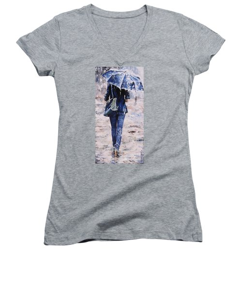 Rainy Day #22 Women's V-Neck T-Shirt (Junior Cut) by Emerico Imre Toth