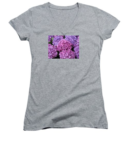Women's V-Neck T-Shirt (Junior Cut) featuring the photograph Rainy Day Flowers by Ira Shander