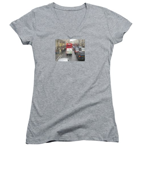 Women's V-Neck T-Shirt (Junior Cut) featuring the photograph Rainy Day London Traffic by Ann Horn