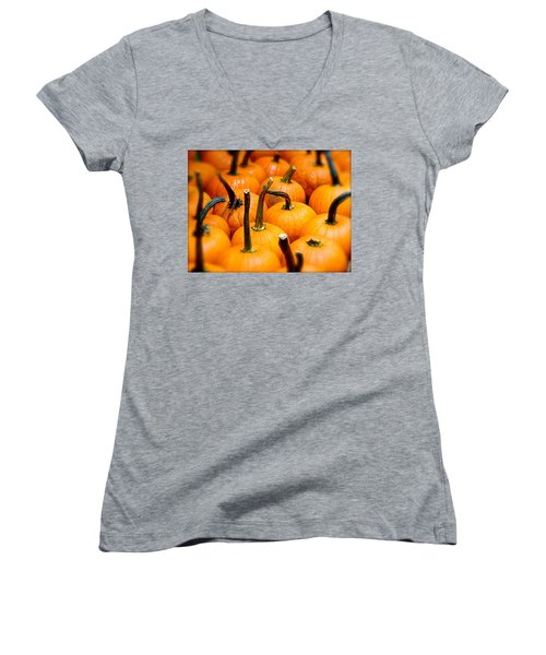 Women's V-Neck T-Shirt (Junior Cut) featuring the photograph Rainy Day Pumpkins by Ira Shander