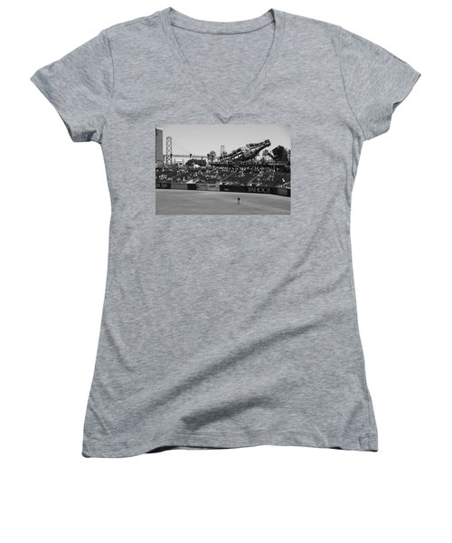 Raking The Lawn Women's V-Neck T-Shirt (Junior Cut) by Eric Tressler