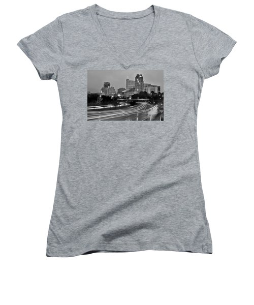 Women's V-Neck T-Shirt (Junior Cut) featuring the photograph Raleigh Skyline At Dusk Evening Black And White Bw Evening Panorama North Carolina Nc by Jon Holiday