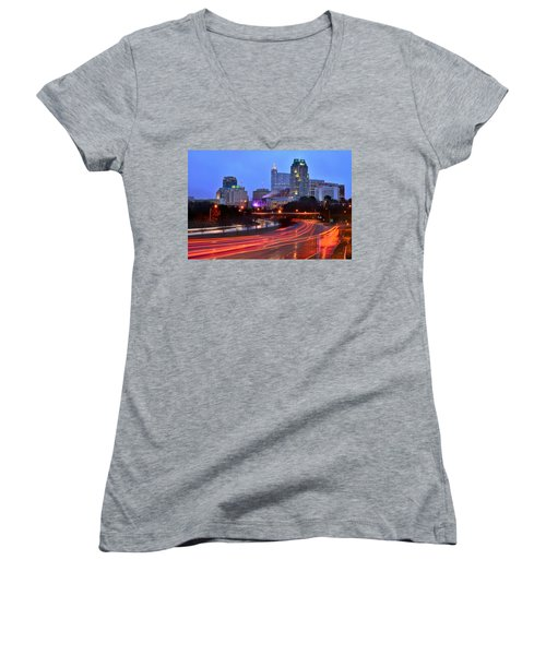 Women's V-Neck T-Shirt (Junior Cut) featuring the photograph Raleigh Skyline At Dusk Evening Color Evening Panorama North Carolina Nc by Jon Holiday
