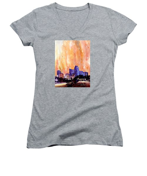 Raligh Skyline Sunset Women's V-Neck T-Shirt (Junior Cut) by Ryan Fox