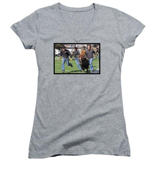 Ralphie V Women's V-Neck T-Shirt (Junior Cut) by Bob Hislop