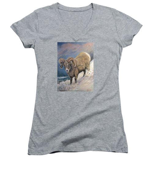 Women's V-Neck T-Shirt (Junior Cut) featuring the painting Ram In The Snow by Donna Tucker