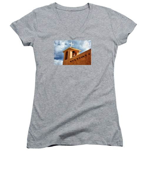 Rancho De Taos Bell Tower And Cross Women's V-Neck T-Shirt (Junior Cut) by Lanita Williams