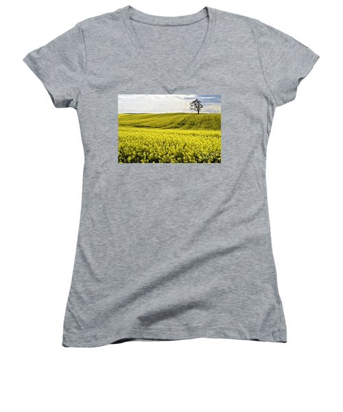 Women's V-Neck featuring the photograph Rape Landscape With Lonely Tree by Heiko Koehrer-Wagner