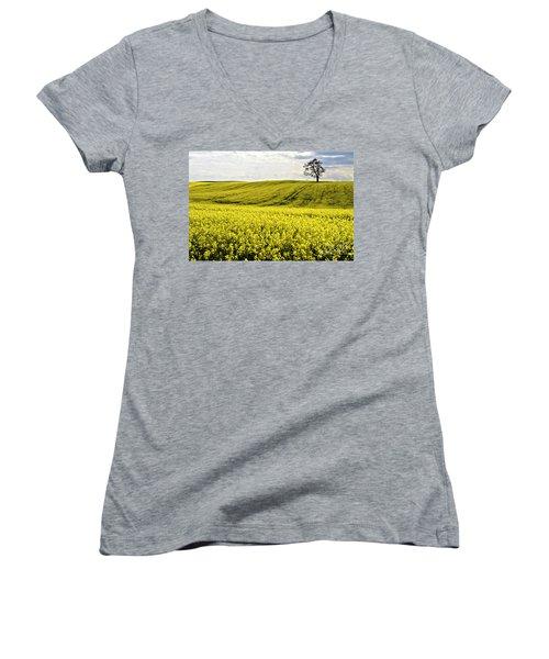 Rape Landscape With Lonely Tree Women's V-Neck T-Shirt