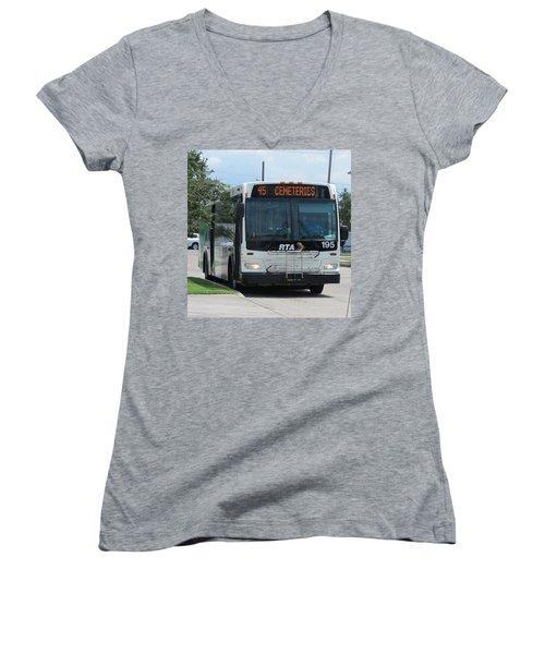 Cemeteries - Rapid Transit Authority - New Orleans La Women's V-Neck T-Shirt (Junior Cut) by Deborah Lacoste