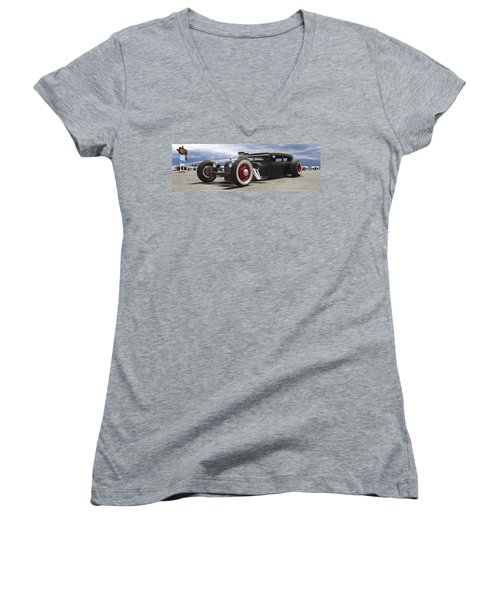 Rat Rod On Route 66 Panoramic Women's V-Neck T-Shirt