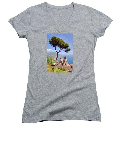 Ravello Pine Women's V-Neck T-Shirt (Junior Cut) by Alan Toepfer