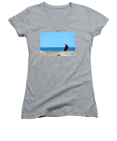 Women's V-Neck T-Shirt (Junior Cut) featuring the photograph Raven Watching by Peta Thames