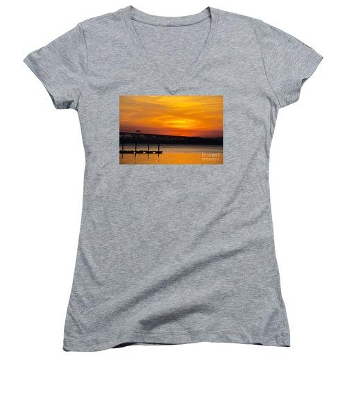 Women's V-Neck T-Shirt (Junior Cut) featuring the photograph Orange Blaze by Dale Powell