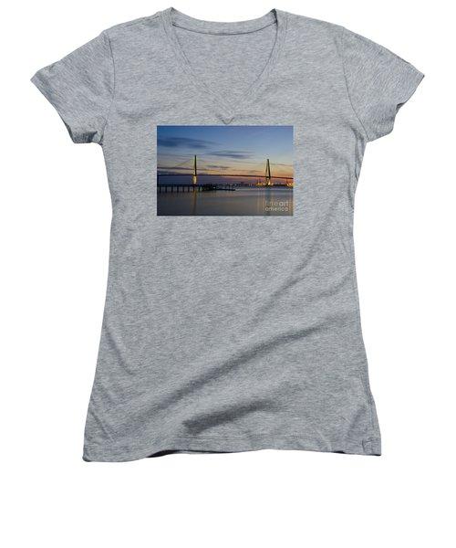 Women's V-Neck T-Shirt (Junior Cut) featuring the photograph Ravenel Bridge Nightfall by Dale Powell
