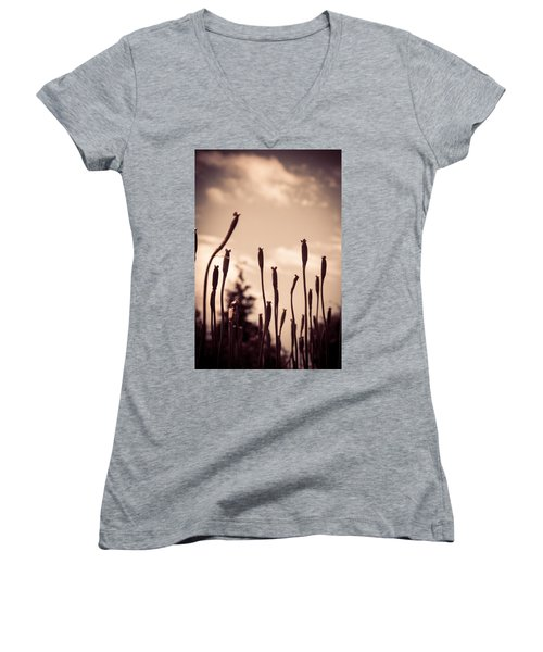 Flowers Reaching For The Sky Women's V-Neck (Athletic Fit)