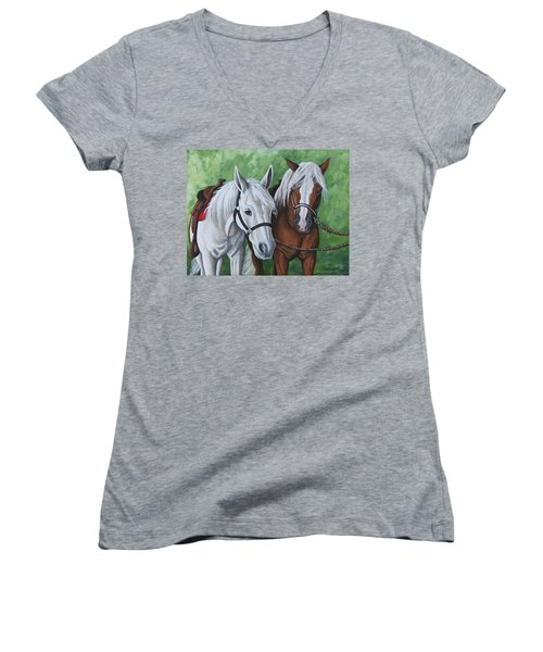 Ready To Ride Women's V-Neck T-Shirt (Junior Cut) by Penny Birch-Williams