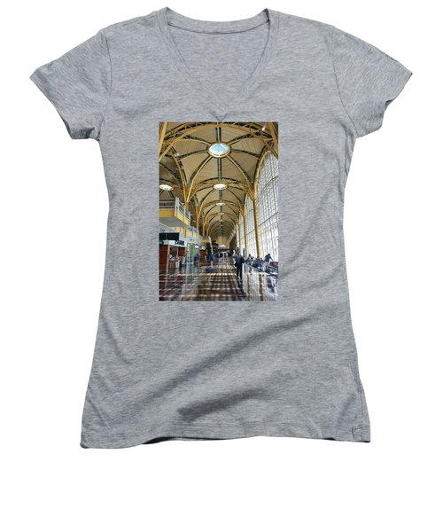 Women's V-Neck T-Shirt (Junior Cut) featuring the photograph Reagan National Airport by Suzanne Stout