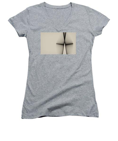 Rear View Women's V-Neck T-Shirt (Junior Cut) by GJ Blackman