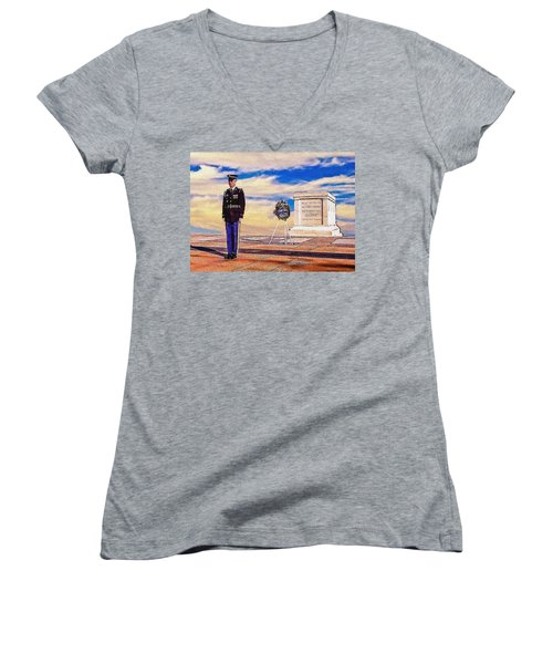 Women's V-Neck featuring the photograph Recitation Of The Requirements Of Honor Guards by Bob and Nadine Johnston