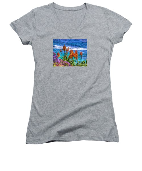 Red Aloe By The Pacific Women's V-Neck T-Shirt (Junior Cut) by Jim Carrell