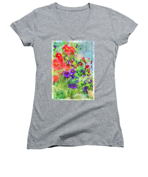 Red And Purple Calibrachoa - Digital Paint I Women's V-Neck T-Shirt (Junior Cut) by Debbie Portwood
