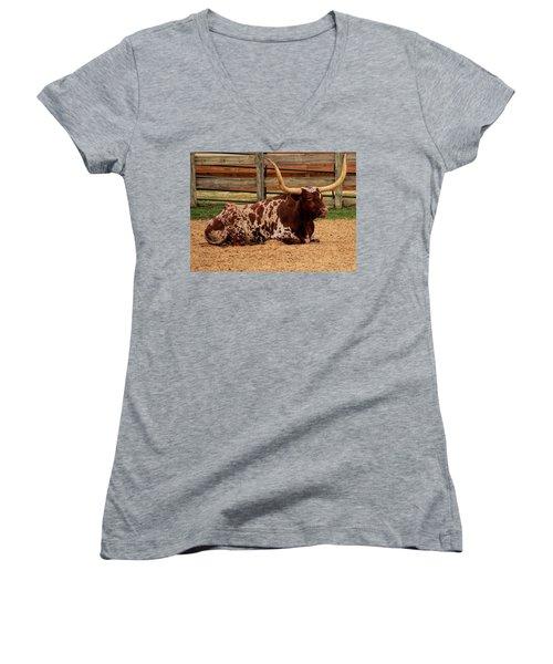 Red And White Texas Longhorn Women's V-Neck T-Shirt