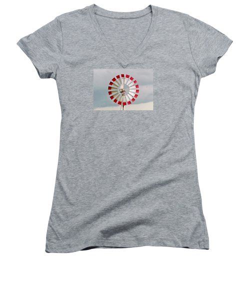 Women's V-Neck T-Shirt (Junior Cut) featuring the photograph Red And White Windmill by Cynthia Guinn