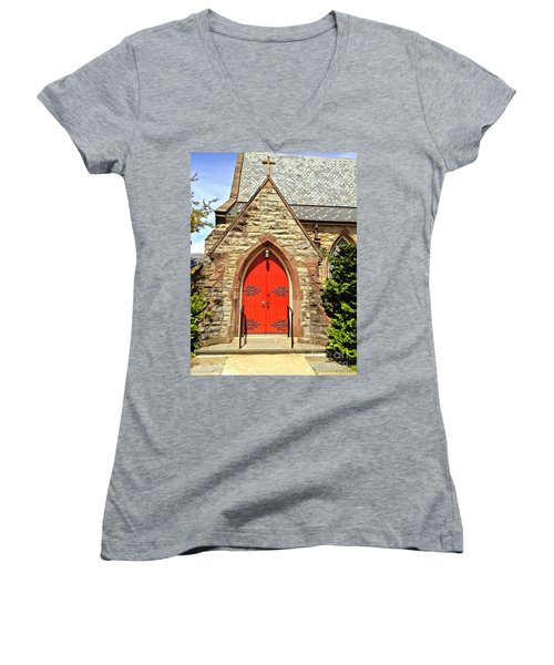 Women's V-Neck T-Shirt (Junior Cut) featuring the photograph Red Arch Church Door 1 by Becky Lupe