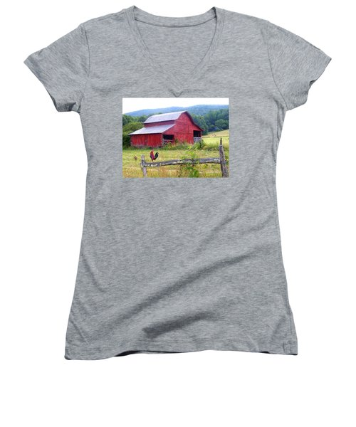 Red Barn And Rooster Women's V-Neck T-Shirt