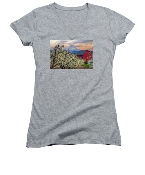 Red Barn In Hood River Pear Orchard Women's V-Neck T-Shirt