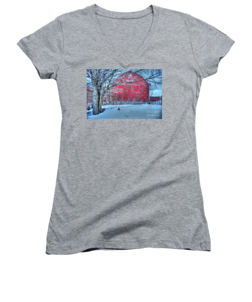 Red Barn In Winter Women's V-Neck T-Shirt (Junior Cut) by Terri Gostola