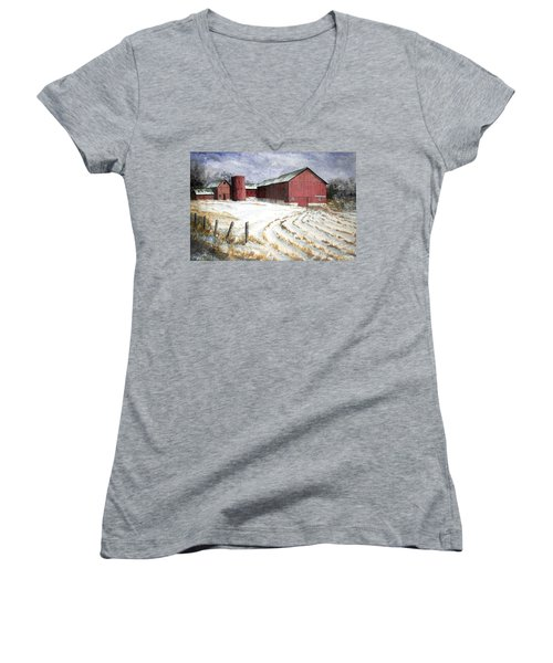 Red Barn On Rt. 49 Women's V-Neck T-Shirt