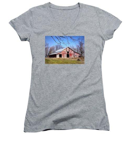 Red Barn On The Hill Women's V-Neck