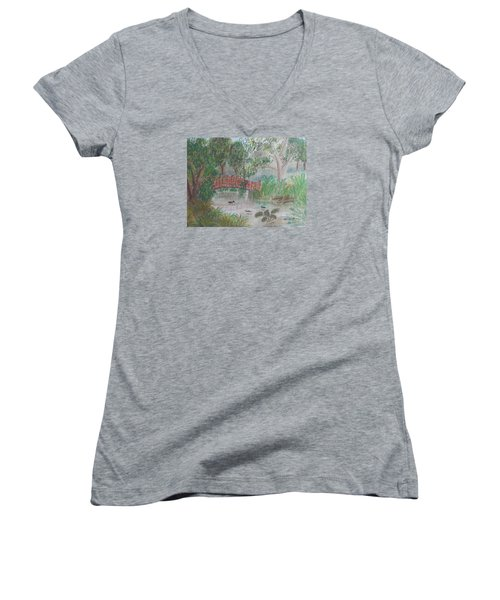 Red Bridge At Wollongong Botanical Gardens Women's V-Neck T-Shirt